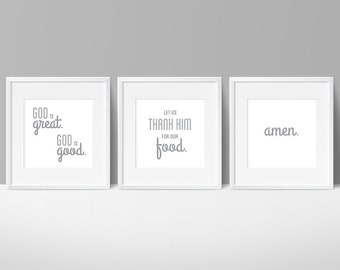 Kitchen Decor Gray, God is Great Prayer, Meal Prayer, Kitchen Prayer, Prayer Art, Prayer Printable, Amen, Kitchen, Thankful, Dining Room