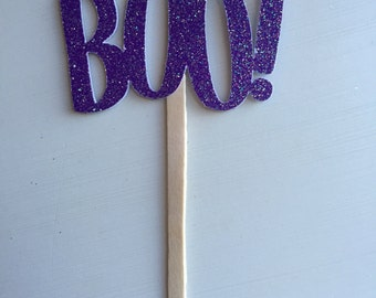 Purple Glitter Boo! Halloween Party Cupcake Picks