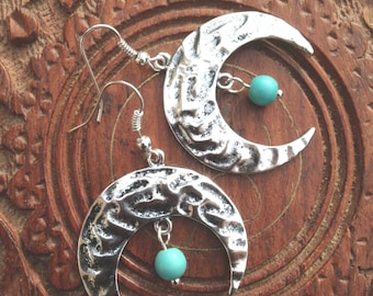 Silver Crescent Moon Earrings, Turquoise Earrings, Boho Earrings, Bohemian Earrings, Hippy - Tribal - Gypsy - Boho
