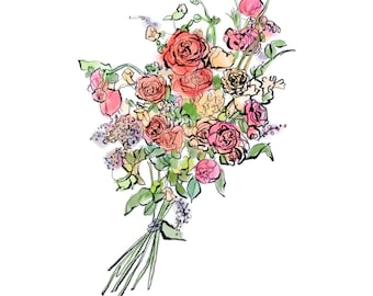 tea roses bouquet digital print, watercolor and ink painting of tea roses, downloadable art, JPEG