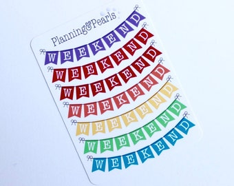 Weekend Banners | 7 Planner Stickers