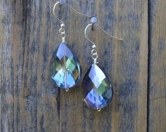 Classic Crystal Tear Drop Earrings in Blue Green/Teal