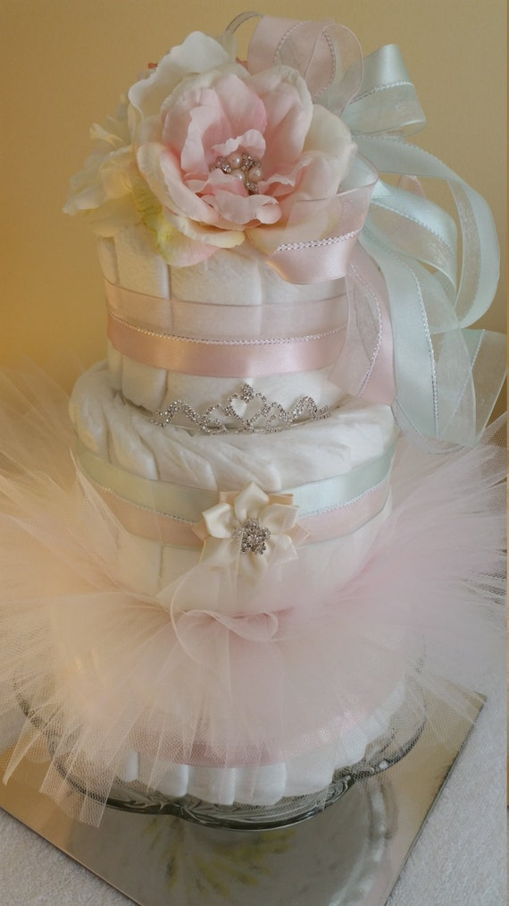 baby shower shabby chic centerpiece tutu diaper cake blush pink and