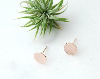 Hammered Disc Earrings, Disc Earrings, Rose Gold Disc Earrings, Hammered Earrings, Small Circle Earrings, Rose Rold Circle Earrings