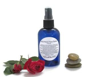 Aloe Rose Face Toner - Skin Toner and Refresher Body Spray - 4 oz. Natural Skin Astringent.