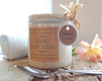 Handmade Coconut-Lime Sugar Body Scrub 8 oz. Plastic Jar, Homemade Sugar Body Scrub, All Natural Scrub, Body Scrub, Natural Coconut Scrub
