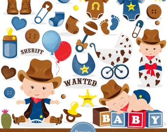 Baby shower clipart, Cowboy baby shower clipart, Wild West clipart, Wild West Party, Western Clipart,  Cowboy clipart - CA428