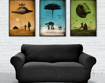 Star Wars Trilogy Poster Set, A New Hope, The Empire Strikes Back, Return of the Jedi, Minimalist Poster, Star Wars Print