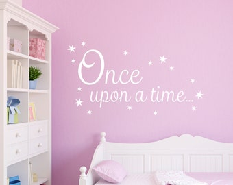 Once upon a Time Decal Book Corner Quote Vinyl Wall Sticker