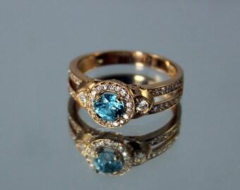 Gold Engagement Ring, Zircon Ring, Birthstone ring, Gemstone ring, Engagement ring, Halo ring, Birthstone halo ring, Blue stone ring