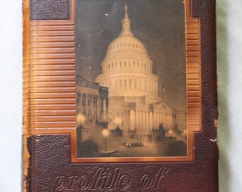 Profile of America | Autobiography of the USA | 1955 | Vintage Reference Book | Leather Bound | Black and White Photos | USA