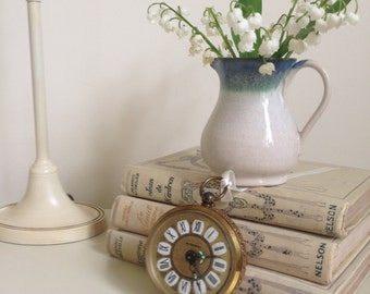 Vintage Brass Blessing Wind Up Alarm Clock, Ornate Filigree Clock,  West Germany