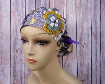 Ponytail Scrub Cap - Scrub Hat - Purple Gold Floral
