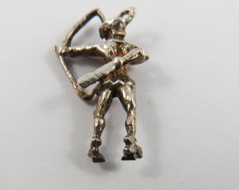 Warrior Shooting Bow and Arrow Sterling Silver Charm or Pendant.