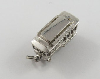 San Francisco Cable Car Sterling Silver Charm or Pendant.