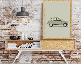 classic car citroen 2CV van retro cars illustration drawing art print poster classic cars illustration serie