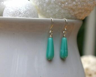 Czech Glass Teal Earrings w/ Hypo Allergenic Ear Wires | Bright Teal Earrings | Light Blue Earrings | Teal Jewelry | Czech Glass Earrings