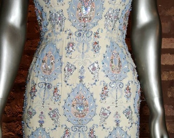 40s Fully Embellished Shift Dress XS (repair or study)