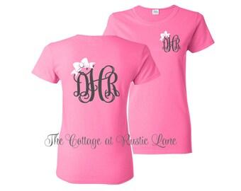 1 Personalized Monogrammed Shirt, Bid day, Big Little Sorority, Bachelorette Party Shirt, Wedding Party Shirt, Monogrammed shirt