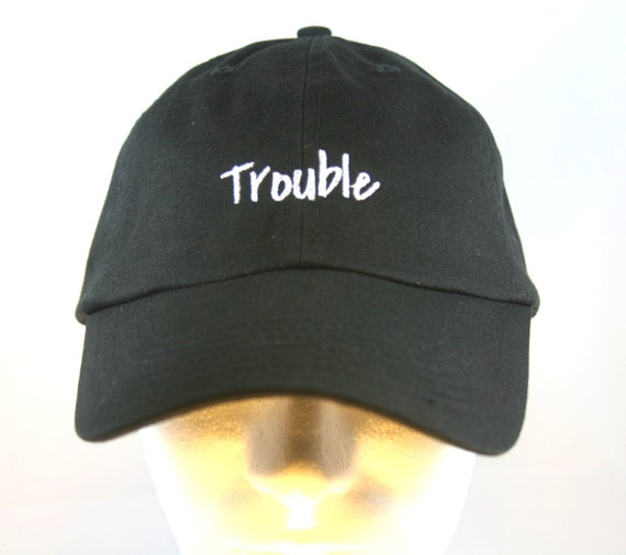 Trouble - Polo Style Ball Cap (Black with White Stitching)