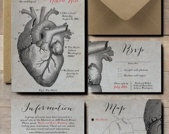 Anatomical Heart Wedding Invitations, scientific wedding invites, steampunk wedding invitations, Victorian vintage wedding invitations