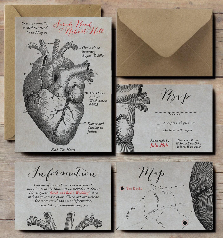 floral skull wedding invitations with skull wedding invitations Anatomical Heart Wedding Invitations scientific wedding invites steampunk wedding invitations Victorian vintage wedding invitations