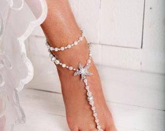 Starfish Beaded Barefoot Sandals, Anklet, Beach wedding Starfish Barefoot Sandal, Bridal Barefoot Sandals, footless sandal