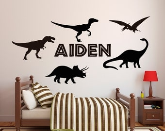 Dinosaur Wall Decal For Kids Bedroom Personalized Name - Custom vinyl wall decals dinosaur