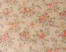 Pale Yellow Cotton Fabric with Pink Roses, Lavender and Blue Flowers, Soft Green Foliage By Joan Kessler, Concord Fabrics