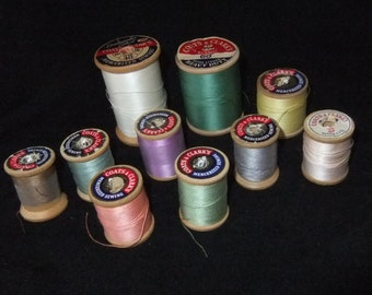 Vintage Coats & Clarks Wooden Spools with Cotton Thread, Various Sizes and Colors