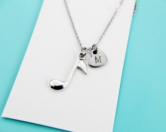 Music Note Necklace Silver Clef Necklace Quarter Note Charm Musical Jewelry Personalized Necklace Initial Necklace