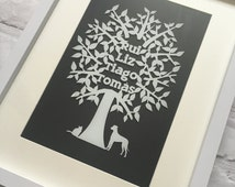 Personalised Family Tree,Gift for a family,personalised present. Framed Family Tree. Unique family tree