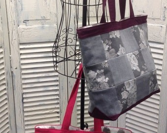 Bleu Redux Upcycled Big Check Maroon (or Pink) & Gray Denim Tote (EB20)