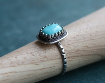 Sleeping Beauty Turquoise Ring  // Sterling Silver & Turquoise // Simple // Handmade