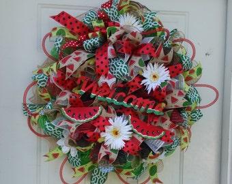 Summer Mesh wreath/ Watermelon/Summer days/Made to Order
