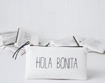 Makeup bag HOLA BONITA. Unique bridesmaid gift. Personalized makeup organizer. Pencil case. White makeup brush holder. Small zipper pouch