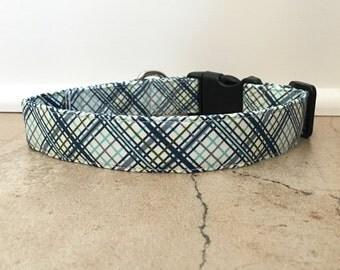 Dog Collar, blue plaid collar, blue plaid dog colar, nautical dog collar, out to sea dog collar, boy dog collar, pretty dog collar, plaid