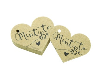 Mint to Be Tags, Wedding Favor Tags, Rustic Favor Tags, Paper Heart Tags, Rustic Wedding Tags, Cream, White, Ivory, Brown Kraft Tags T070