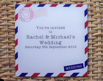 25 Personalised Airmail / Destination Wedding Invitations P&P + Envelopes included