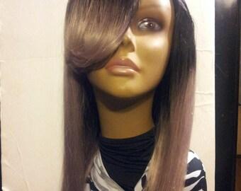 100% Brazilian Remy Yaky Human Hair Two Tone Colors Deep SIde U-Part Custom Wig