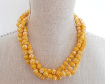 Yellow pearl necklace, triple strand, yellow wedding, yellow bridesmaid, summer wedding, bridesmaid gift