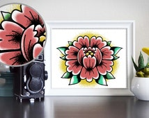 Tattoo Flash American Traditional Bold Rose Flower Tattoo Inspired Painting Digital Download