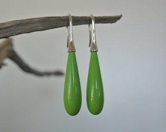 Green or Orange stone drop Earrings
