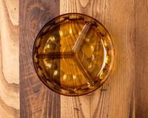 Vintage Amber Glass 3 Segmented Divided Serving Bowl Relish Dish