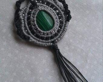 Macrame necklace , gemstone cabochone necklace , handmade macrame jewelry