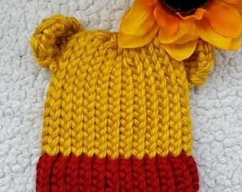 Honey Bear_ Baby Hat_ loom knitted baby hat