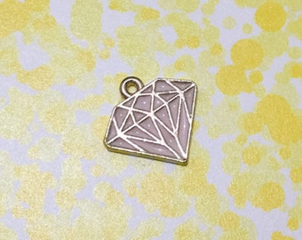 Diamond Charm | Pink Enamel Gold Plated Jewelry Charms |Handmade Jewelry Making Supplies | Pendant Bracelet Earrings (15*15mm) 1pc CHB30