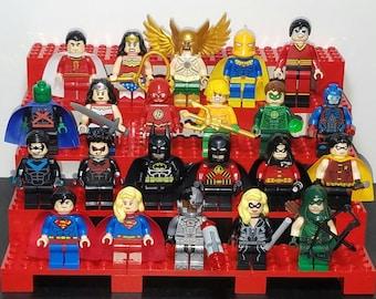 Justice League Pick Your Set of 5 DC Inspired Minifigures Batman Superman Wonder Woman Green Arrow Flash Shazam Cyborg (LEGO Compatible)