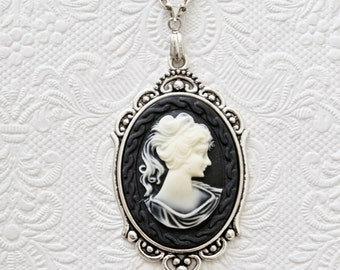 Classic victorian gothic cameo necklace 30x40mm-victorian gothic jewelry-gothic necklace-necklace-cameo necklace