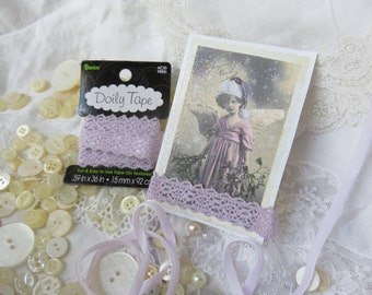 Lavender Doily Crochet Lace Tape - Adhesive Lace Tape by Darice - Scrapbooking, Textile Art, ATC cards, tags, gift wrap, sewing